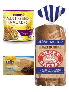 gluten free products, udi's baguettes, crunchmaster, three bakers, glutenfree
